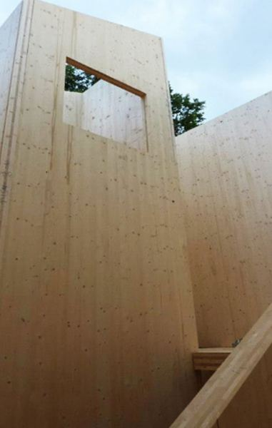 Using pre-fabricated cross-laminated timber structure meant the eco home was assembled in just one week