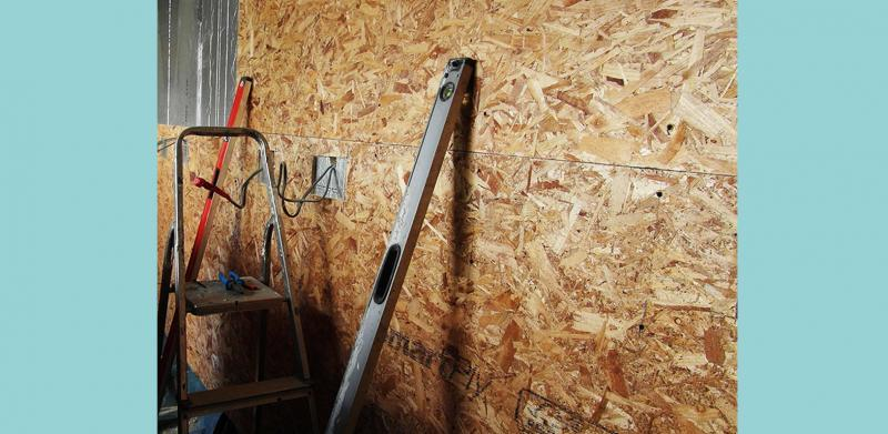 Oriented Strand Board (OSB) used as the airtightness layer