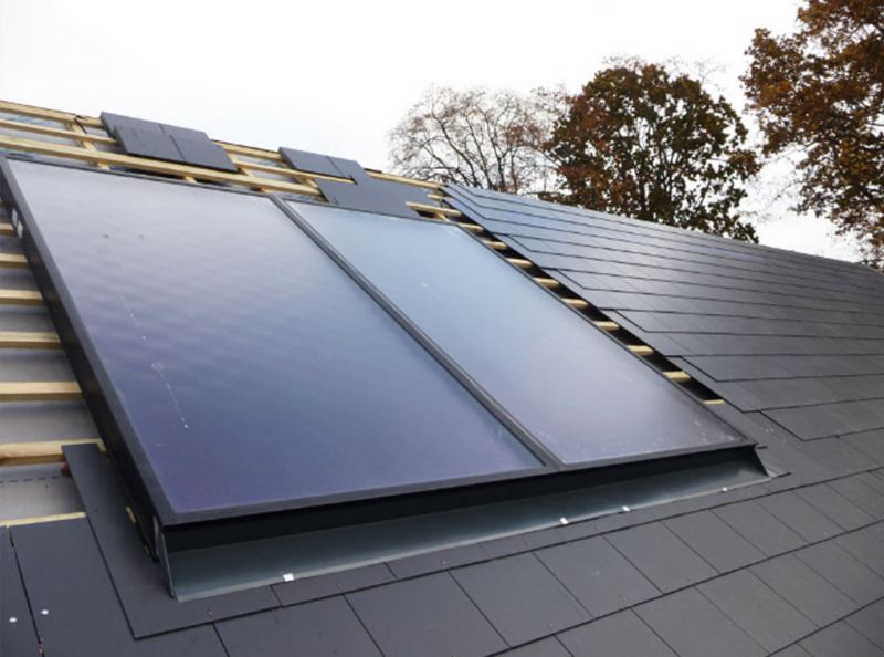 Solar panels installed on the roof tiles at the selfbuild eco home