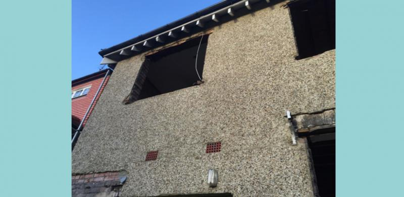Rear windows removed prior to replacement and application of External Wall Insulation