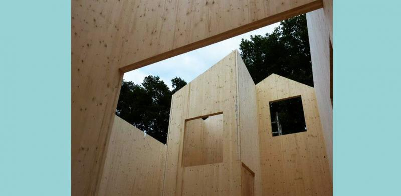 How the cross-laminated timber structure looked during construction