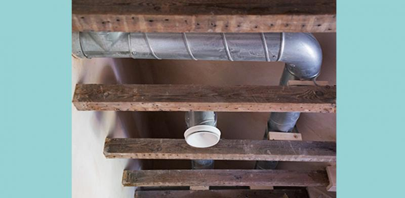MVHR Ducting in the ceiling at London's first certified EnerPHit Eco Home