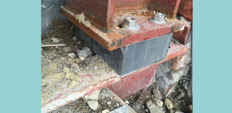 Thermal break in supporting steel work prevents heat loss from within the building