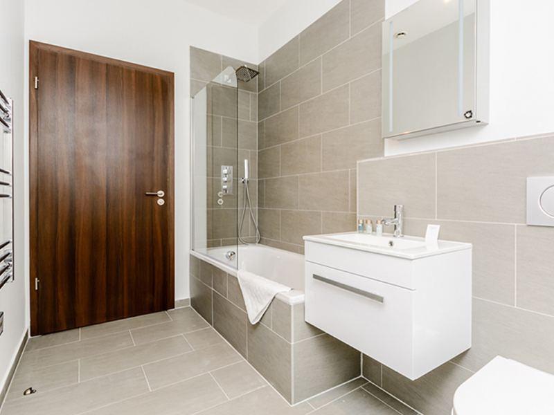 Bathroom at low energy retrofit at Ibis House