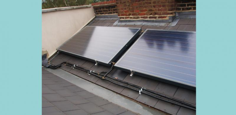 Solar Thermal technology on the roof providing hot water
