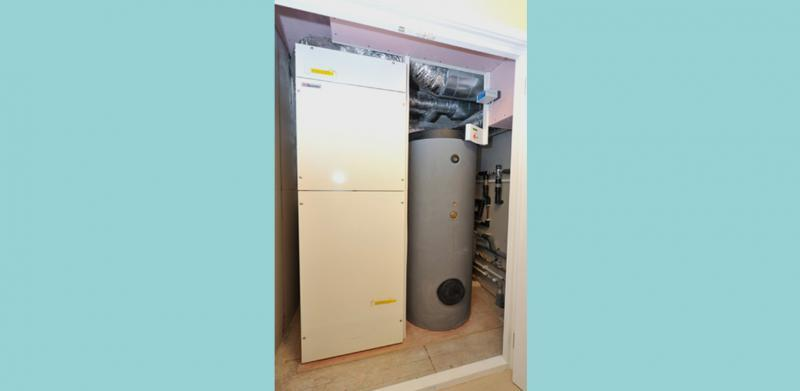 The GENVEX Combi unit provided MVHR Ventilation, air source heat pump and domestic hot water
