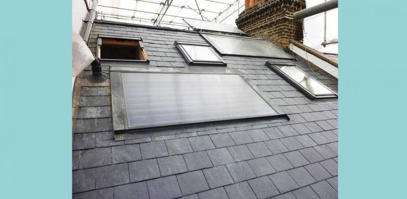 Solar thermal panels installed for hot water