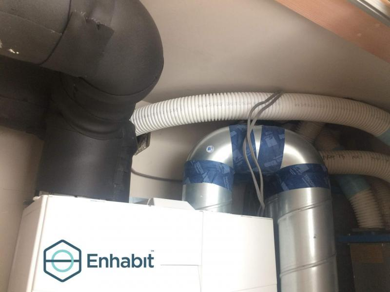 The ducting is replaced by Enhabit installers with Lindab SAFE-R rigid steel and wrapped in Armaflex insulation