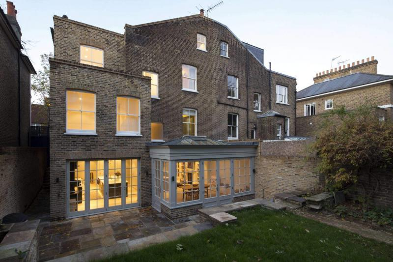 External of Victorian townhouse converted to energy effiicent standards Enhabit - back garden