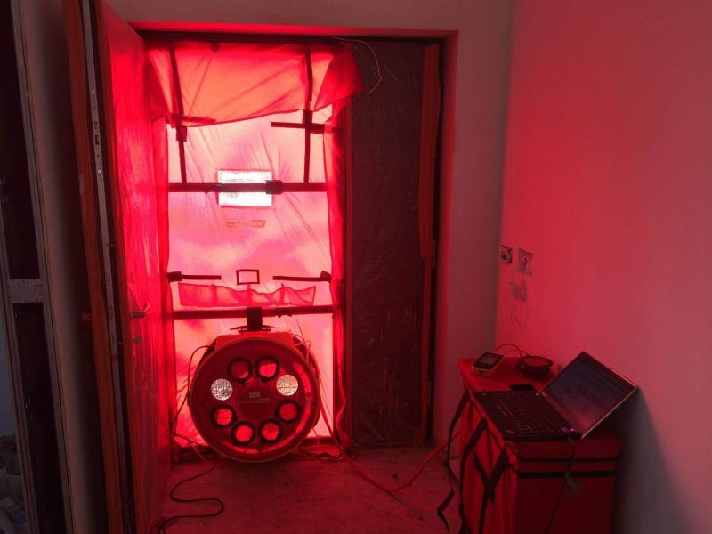Enhabit blower door airtightness test fan set up