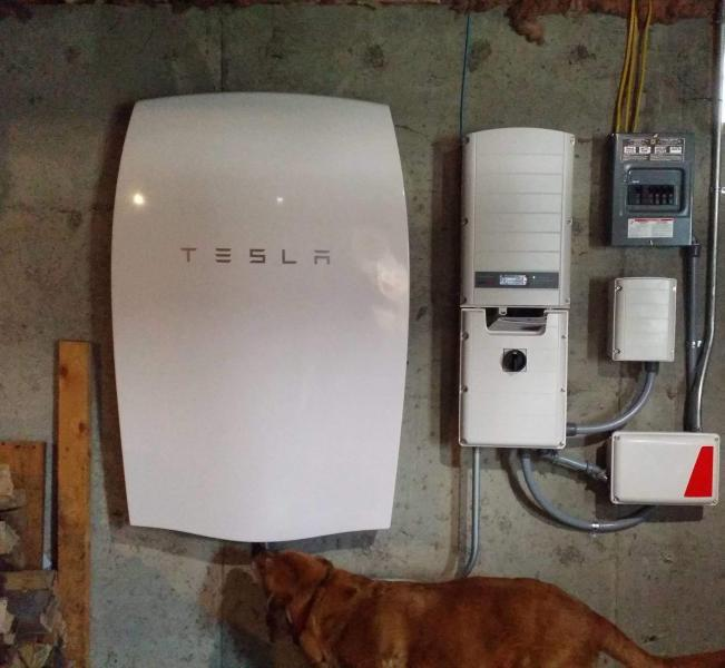Installed Tesla batter with solar PV system London