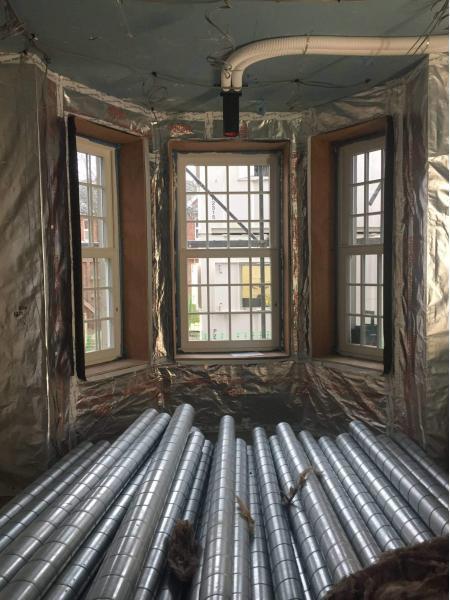 ComfoTube Rigid Steel ducting triple glazed windows and internal insulation at former hotel retrofit by Enhabit
