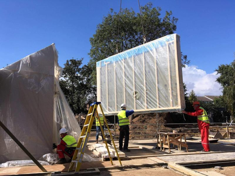 The timber frame system took three weeks to erect